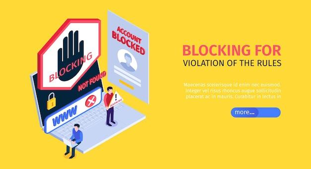 Isometrische internetblokkerende banner met blokkering voor overtreding van de bestemmingspagina van de regels