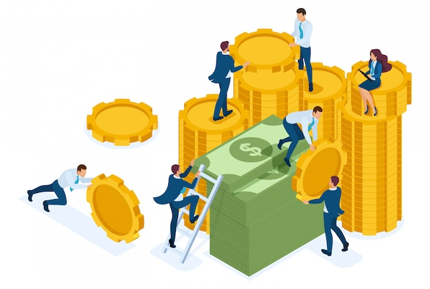 Isometrische investeringsgroei, investeerders dragen geld naar de bank.