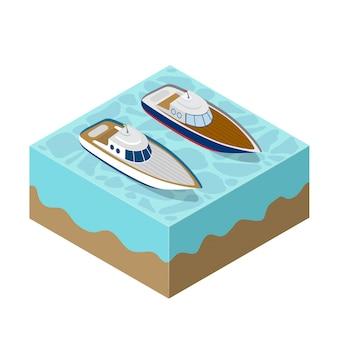 Isometrische jacht van een cruise op zee