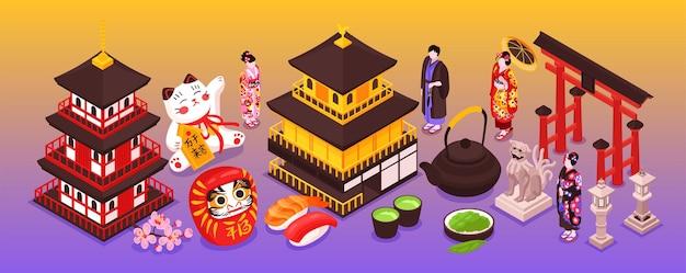 Isometrische japanse thema's smalle illustratie
