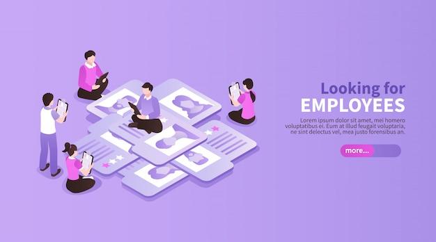 Isometrische job search werving kleur achtergrond met bewerkbare tekst leer meer button mensen en sollicitatiepapieren