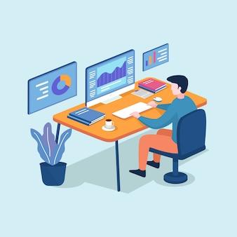 Isometrische jonge man aan het werk op de computerprogrammeur, bedrijfsanalyse, ontwerp, strategie