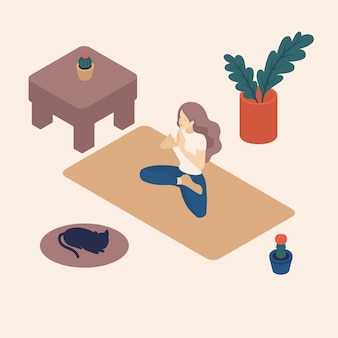 Isometrische jonge vrouw in haar vrije tijd, thuis, het beoefenen van yoga, asana.