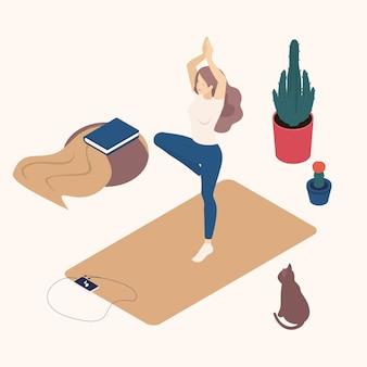 Isometrische jonge vrouw in haar vrije tijd, thuis, het beoefenen van yoga, houding.