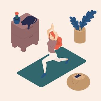 Isometrische jonge vrouw in haar vrije tijd, thuis, het beoefenen van yoga, pose, kat.