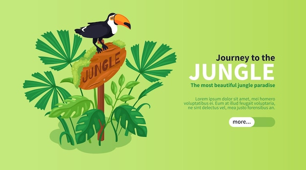 Isometrische jungle horizontale banner met toekan