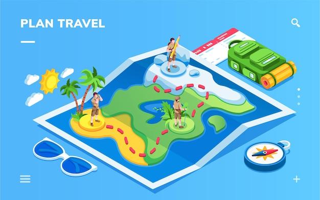 Isometrische kaart met reizende man voor smartphone-toepassingsscherm man op reisroute en instappen