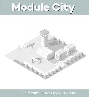 Isometrische kaart van de luchthaven van de stad