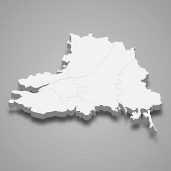 Isometrische kaart van de oblast cherson is een regio van oekraïne
