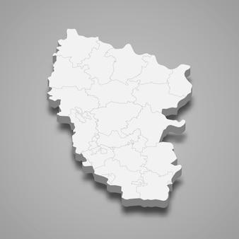 Isometrische kaart van de oblast loehansk is een regio van oekraïne