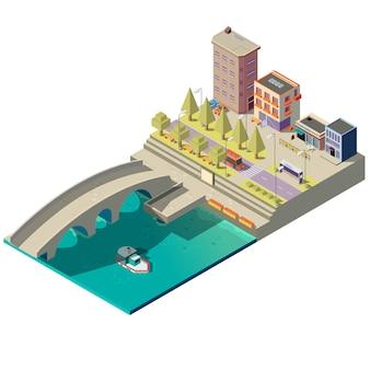 Isometrische kaart van de stad met gebouwen
