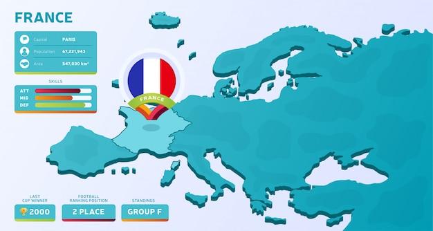 Isometrische kaart van europa met gemarkeerd land frankrijk