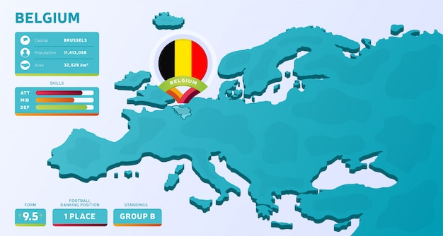Isometrische kaart van europa met gemarkeerde land belgië