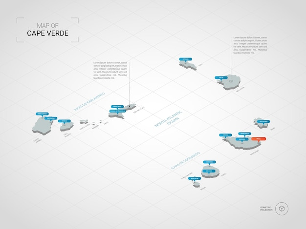 Isometrische kaart van kaapverdië. gestileerde kaartillustratie met steden, grenzen, kapitaal, administratieve afdelingen en wijzertekens; verloop achtergrond met raster.