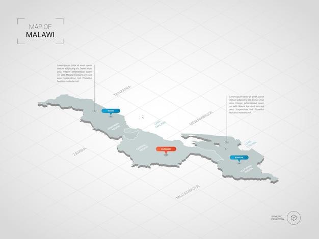 Isometrische kaart van malawi. gestileerde kaartillustratie met steden, grenzen, kapitaal, administratieve afdelingen en wijzertekens; verloop achtergrond met raster.
