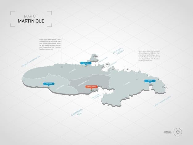 Isometrische kaart van martinique. gestileerde kaartillustratie met steden, grenzen, kapitaal, administratieve afdelingen en wijzertekens; verloop achtergrond met raster.