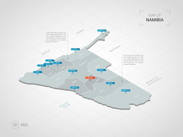 Isometrische kaart van namibië. gestileerde kaartillustratie met steden, grenzen, kapitaal, administratieve afdelingen en wijzertekens; verloop achtergrond met raster.
