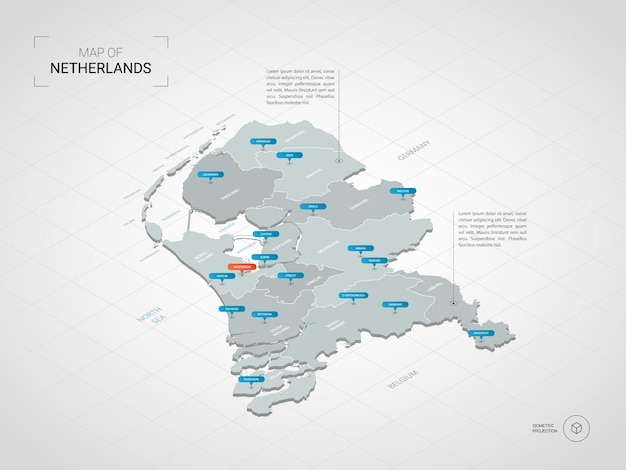 Isometrische kaart van nederland. gestileerde kaartillustratie met steden, grenzen, kapitaal, administratieve afdelingen en wijzertekens; verloop achtergrond met raster.