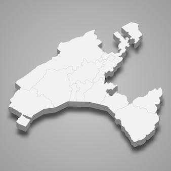 Isometrische kaart van vaud is een kanton van zwitserland