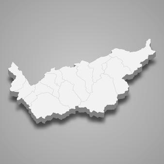 Isometrische kaart van wallis is een kanton van zwitserland