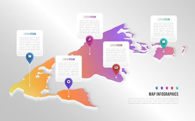 Isometrische kaarten infographics concept