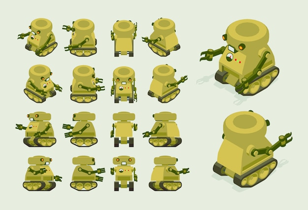 Isometrische kaki militaire robot op rupsbanden