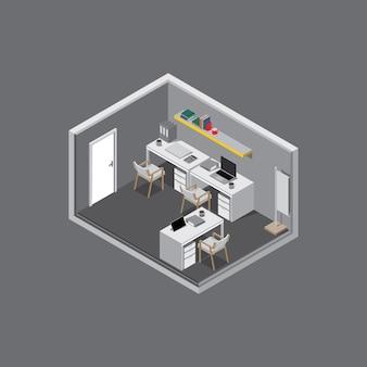 Isometrische kamer bezig met grijze achtergrond