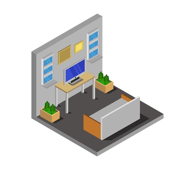 Isometrische kamer met televisie