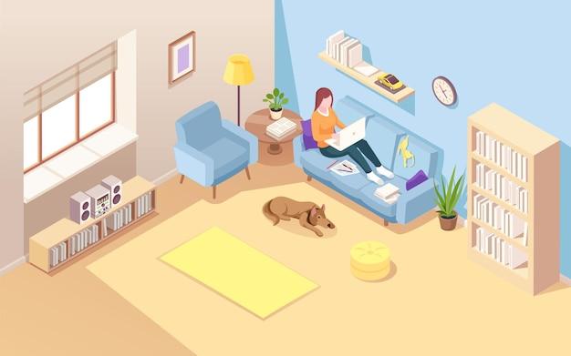 Isometrische kamer met vrouw zittend op de bank en externe baan met behulp van notebook. meisje met laptop freelance werk. liggende vrouw thuis werken via internet. dame op de bank. werkruimte