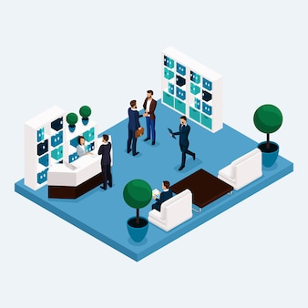 Isometrische kamer multistoried kantoormedewerkers 3d zakelijke mannen en vrouwen in de lobby bij de receptie geïsoleerd