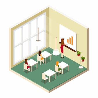 Isometrische kamer training klasse op school
