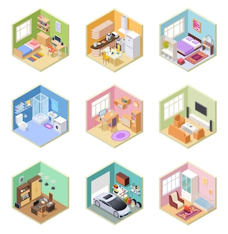 Isometrische kamers. ed huis, woonkamer keuken badkamer slaapkamer toilet appartement interieur met meubelset