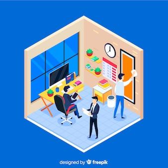 Isometrische kantoor scène achtergrond
