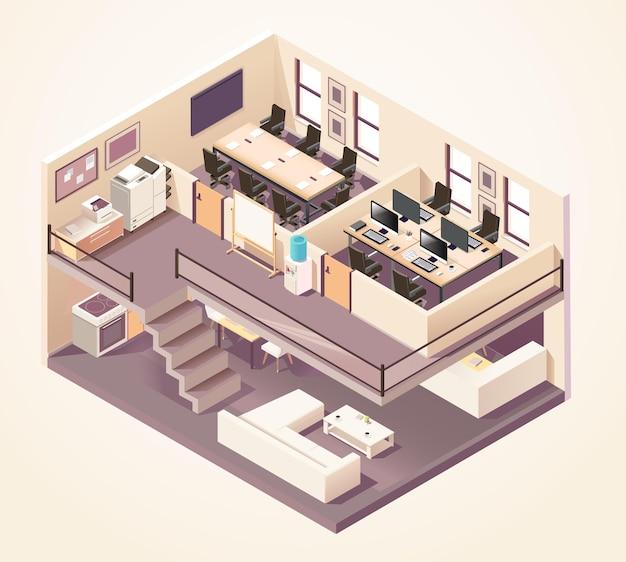 Isometrische kantoor verschillende verdiepingen samenstelling