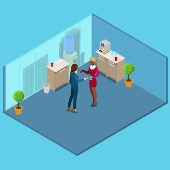 Isometrische kantoorkeuken. mensen uit het bedrijfsleven koffie drinken.