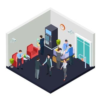 Isometrische kantoorlobby met beveiliging. mensen uit het bedrijfsleven ontmoeten elkaar in de lobby Premium Vector