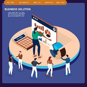 Isometrische kantoorruimte interieur zakenlieden samenwerking teamwork brainstormen.