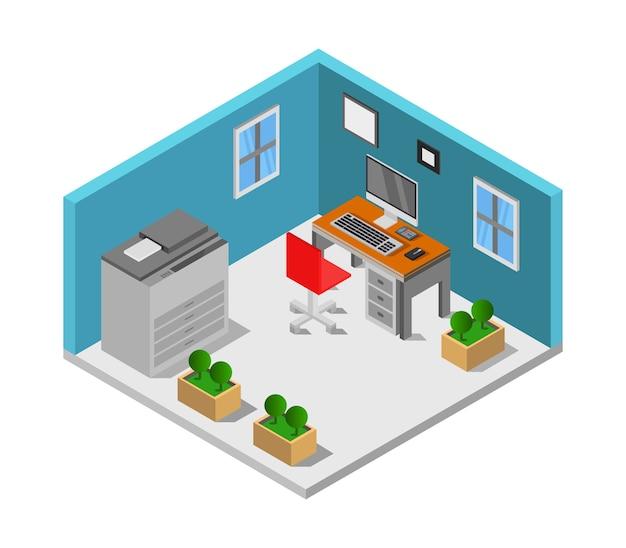 Isometrische kantoorruimte