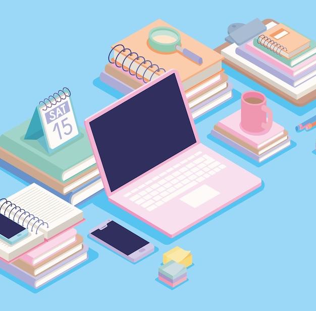 Isometrische kantoorspullen op blauw