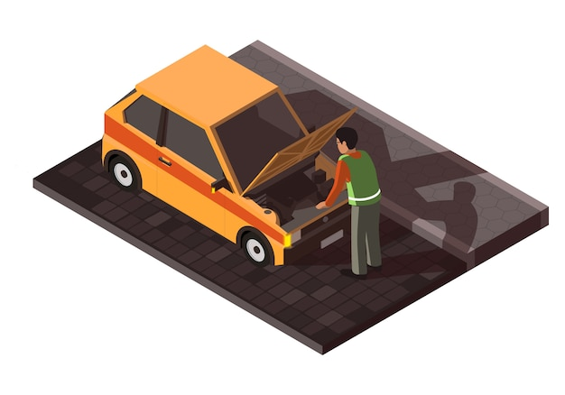 Isometrische kapotte auto met chauffeur