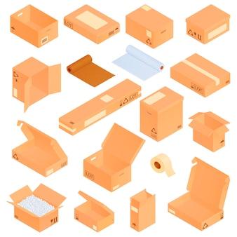 Isometrische kartonnen dozen ingesteld