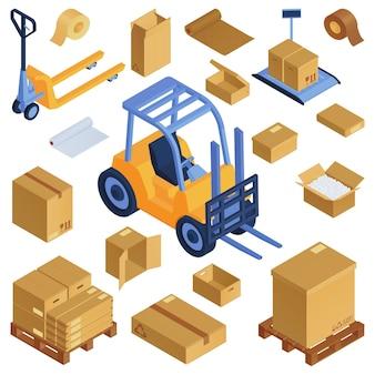 Isometrische kartonnen dozen palletlader set met geïsoleerde dozen van kartonnen verpakkingen en afbeelding van vorkheftruck