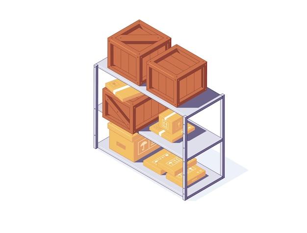Isometrische kartonnen en houten kisten op magazijnstandaard voor levering en opslagconcept. diverse sluiten bruine dozen en pakketten die op plank liggen. containers voor vracht en verzending.