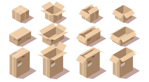 Isometrische kartonnen leveringspakket dozen