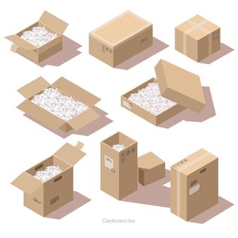 Isometrische kartonnen pakketdozen met vulmiddel