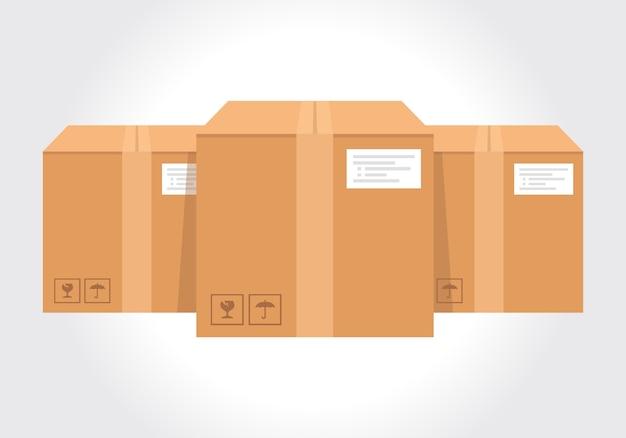 Isometrische kartonnen verpakking afbeeldingen geplaatst