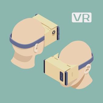 Isometrische kartonnen vr-headsets. de objecten worden geïsoleerd tegen de lichtgroene achtergrond en vanaf twee kanten getoond