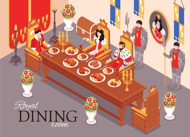 Isometrische kasteel koninklijke interieur maaltijd samenstelling illustratie