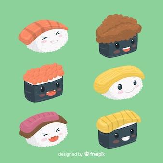 Isometrische kawaii sushi stukjes pack