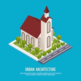 Isometrische kerk met weg